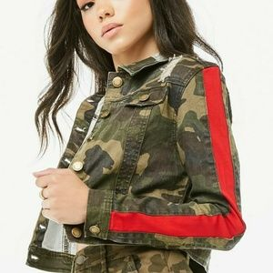 Jackets & Blazers - Distressed Camo Jacket with Fabulous Red Stripe